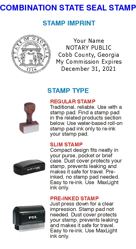 Notary Public Combination Stamp and Seal county