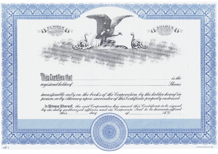Front of Stock Certificate