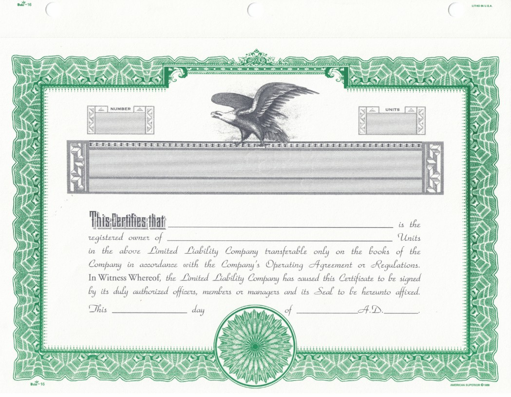Duke Limited Liability Company - S corporation stock certificate template