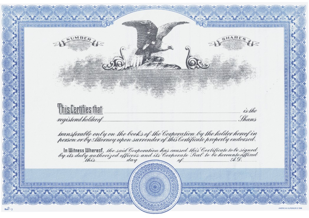 Duke 3 Stock Certificates