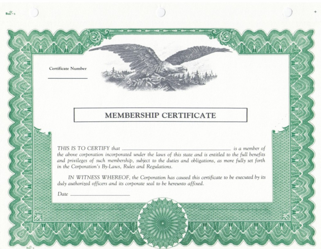 Duke 6 membership stock certificates for Share certificate template alberta