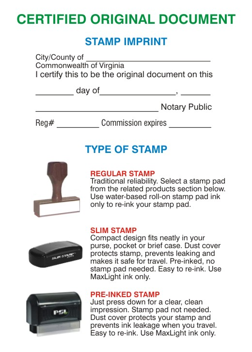 certified original document stamps virginia With document certification stamp