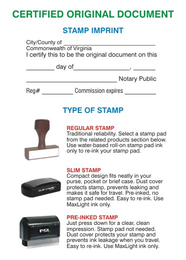 certified orginal document stamp