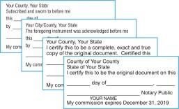 Personalized Jurat Acknowledgement True Copy Certified Original