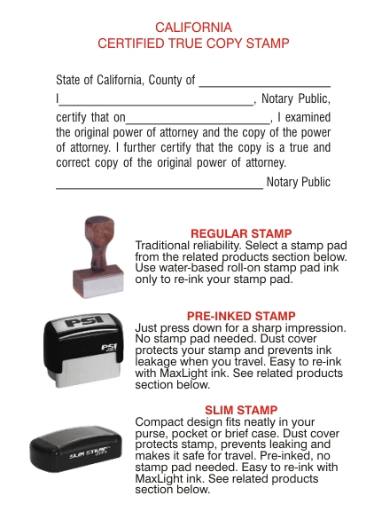 Power of Attorney Certified True Copy Stamps California