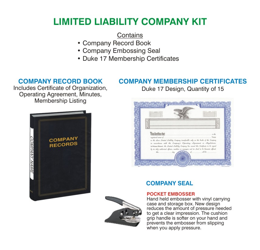 limited liability company kit with llc embosser  llc ownership certificates and establishment