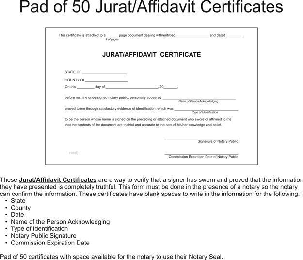 Jurat Affidavit Certificates